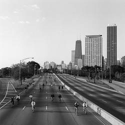 People cycling on a road, Bike The Drive, Lake shore Drive, Chicago, Cook County, Illinois, USA