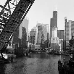 Drawbridge on a river, Chicago River, Chicago, Cook County, Illinois, USA