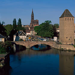 Bridge across a river, Pont Couverts, Rhine River, Bas-Rhin, Strasbourg, Alsace, France