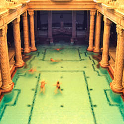 High angle view of tourists in a swimming pool, Gellert Baths, Budapest, Hungary