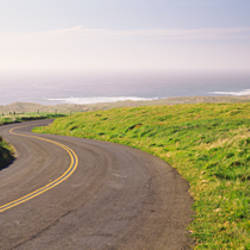 Road along the coast, Point Reyes National Seashore, Point Reyes, Marin County, California, USA