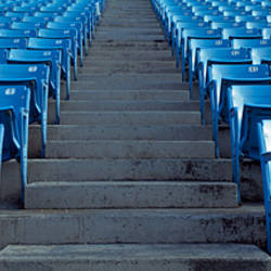 Empty blue seats in a stadium, Soldier Field, Chicago, Illinois, USA