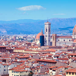 High angle view of buildings in a city, Florence, Tuscany, Italy