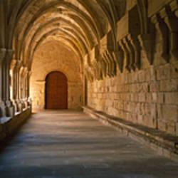 Corridor of a monastery, Poblet Monastery, Conca de Barbera, Tarragona Province, Catalonia, Spain