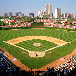 High angle view of a stadium, Wrigley Field, Chicago, Cook County, Illinois, USA