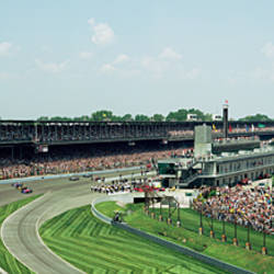 Race cars in pace lap in a stadium, Indianapolis 500, Indianapolis Motor Speedway, Speedway, Indianapolis, Indiana, USA