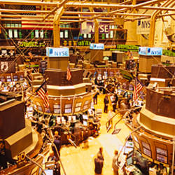 High angle view of a group of people in a stock market, New York Stock Exchange, Manhattan, New York City, New York State, USA
