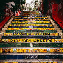 Low angle view of a staircase, Lapa Steps, Rio De Janeiro, Brazil