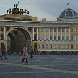 Group of people in front of a museum, State Hermitage Museum, Winter Palace, Palace Square, St. Petersburg, Russia