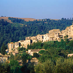 Buildings on a mountain, Plessi Di Baschi, Baschi, Terni province, Umbria, Italy