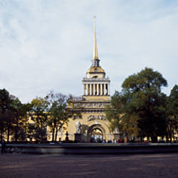 Trees in front of a building, The Admiralty, Naval College, St. Petersburg, Russia