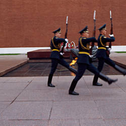 Soldiers marching in front of a memorial, Tomb of The Unknown Soldier, Kremlin Wall, Moscow, Russia