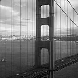 High angle view of a bridge across the sea, Golden Gate Bridge, San Francisco, California, USA