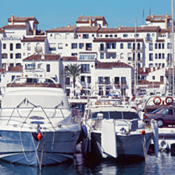 Yachts moored at a harbor, Puerto Banus, Andalusia, Spain