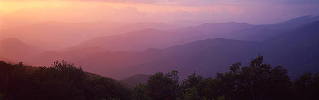 Silhouette of mountains at dusk, Blue Ridge Parkway, North Carolina, USA