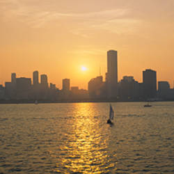 Silhouette of skyscrapers at the waterfront, Chicago, Cook County, Illinois, USA
