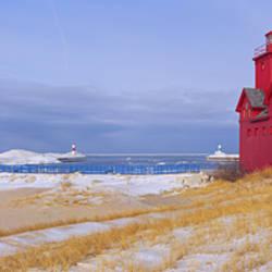 Lighthouse at the lakeside, Lake Michigan, Holland, Michigan, USA