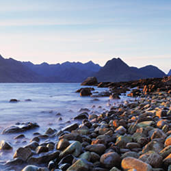 Rocks on the beach, Elgol Beach, Elgol, view of Cuillins Hills, Isle Of Skye, Scotland