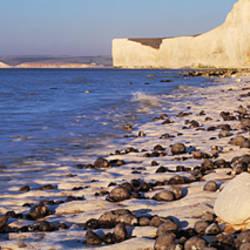 Chalk cliffs at seaside, Seven sisters, Birling Gap, East Sussex, England
