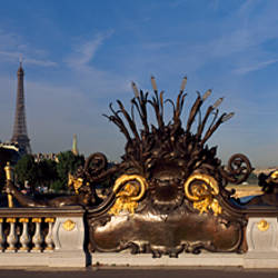 Bridge with a tower in the background, Pont Alexandre III, Eiffel Tower, Paris, Ile-De-France, France