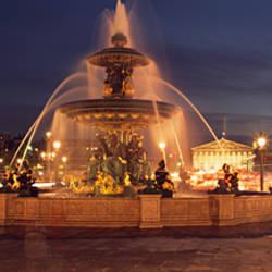 Fountain lit up at night, Place De La Concorde, Paris, Ile-De-France, France