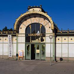 Entrance of a railroad station, Karlsplatz, Vienna, Austria