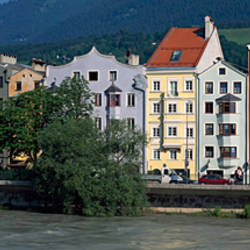 Buildings at the waterfront, Inn River, Innsbruck, Tyrol, Austria