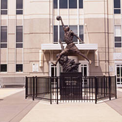 Statue in front of a building, Michael Jordan Statue, United Center, Chicago, Cook County, Illinois, USA