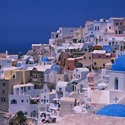 High angle view of a town, Oia, Santorini, Greece