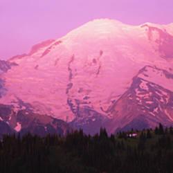 Snow covered mountain at sunrise, Mt Rainier, Washington State, USA