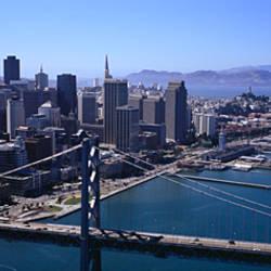 High angle view of a suspension bridge, Bay Bridge, San Francisco, California, USA