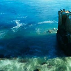 High angle view of a rock formation in the sea, Santa Cruz, California, USA