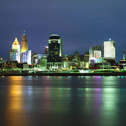 Buildings at the waterfront lit up at night, Ohio River, Cincinnati, Ohio, USA