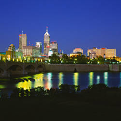 Buildings lit up at dusk, Indianapolis, Indiana, USA