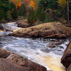 Bad River, autumn color trees, Copper Falls State Park, Wisconsin, USA.