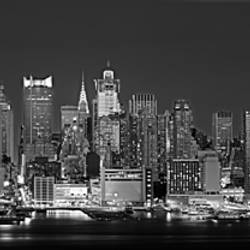 USA, New York, New York City, Panoramic view of the West side skyline at night (Black And White)