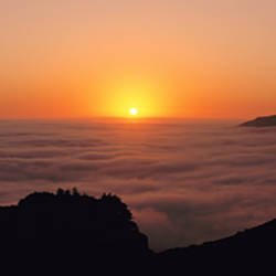 USA, California, Big Sur, Pacific Ocean, Sunset with marine layer