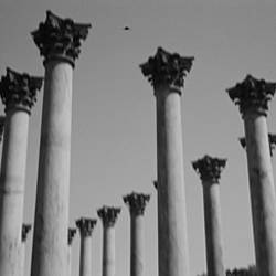 Low angle view of columns, US Capitol Columns, National Arboretum, Washington DC, USA