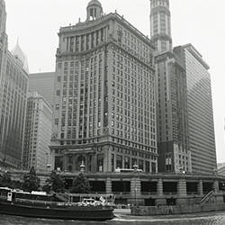 Low angle view of buildings on the waterfront, Chicago, Illinois, USA