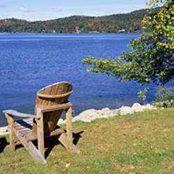 Adirondack Chairs On A Lawn, Fourth Lake, Adirondack Mountains, Adirondack State Park, New York State, USA
