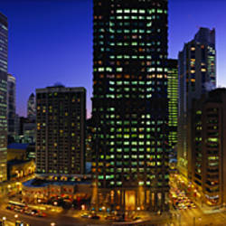 Buildings Lit Up At Dusk, Chicago, Illinois, USA
