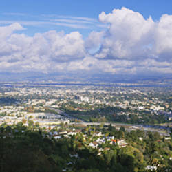 High angle view of a city, Studio City, San Fernando Valley, Los Angeles, California, USA
