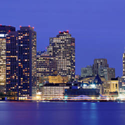 Skyscrapers lit up at night, Boston, Massachusetts, New England, USA