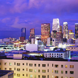 High Angle View Of The City At Night, Los Angeles, California, USA