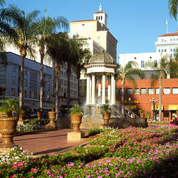 Garden in front of a shopping mall, Westfield Horton Plaza, San Diego, California, USA