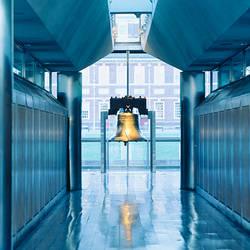 Liberty bell hanging in a corridor, Independence Hall, Philadelphia, Pennsylvania, USA