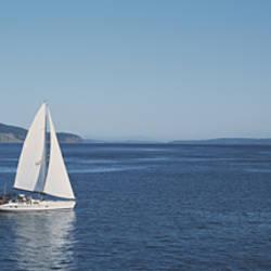 Sailboat Sailing In The Sea, San Juan, Washington State, USA