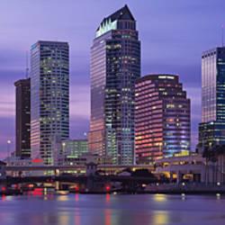 USA, Florida, Tampa, View of an urban skyline at night