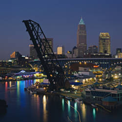 Skyscrapers lit up at night in a city, Cleveland, Ohio, USA