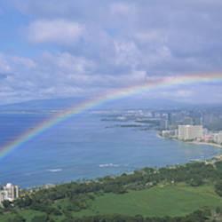 Rainbow Over A City, Waikiki, Honolulu, Oahu, Hawaii, USA